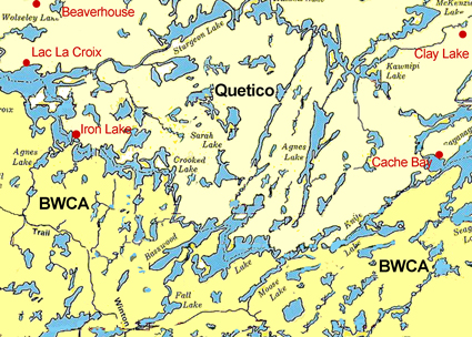 Map of portions of the Boundary Waters (BWCA) and Quetico Park