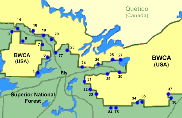 Waters Canoe Area Entry Points - Us map showing boundary waters minnesota
